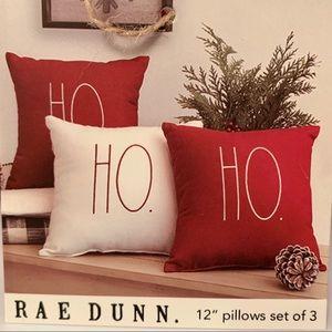 Rae Dunn HOHOHO Red & White Throw Pillows-Set of 3